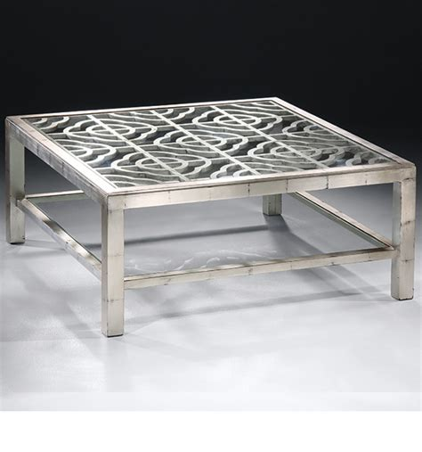 silver glass coffee table river stone cocktail table silver leaf modern silver
