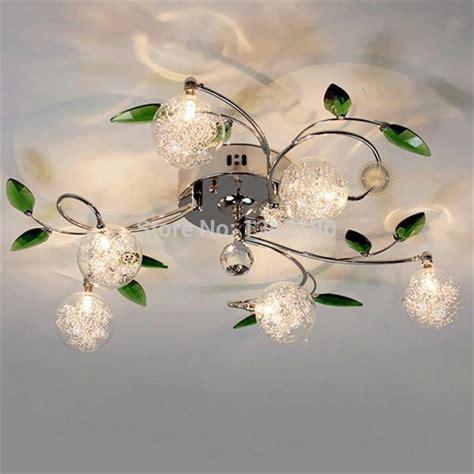 modern  light crystal green leaves ceiling light