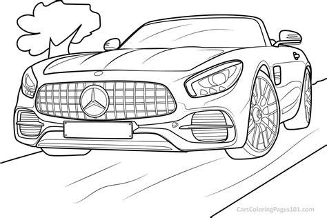 Malvorlage landschaft idees de ausmalbilder autos ausdrucken. Mercedes-Benz AMG GT S Roadster - 2019 - Front View printable coloring page for kids and adults