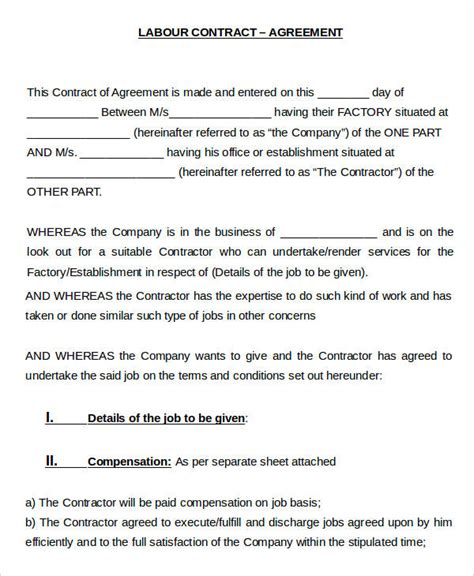 labour contract templates word  docs