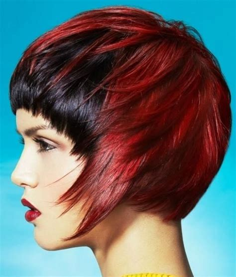 Red Coloured Asymmetrical Bob Hairstyle With Black Dyed