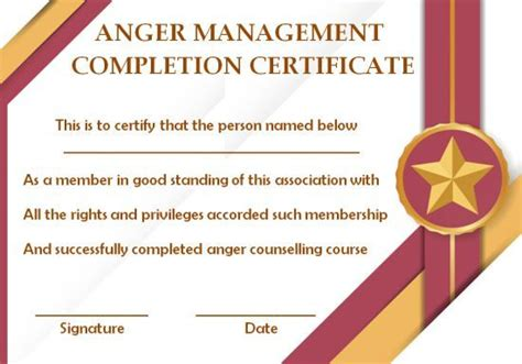 anger management certificate  templates  editable