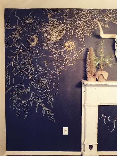 faux wallpaper gold paint marker mural in 2019 powder