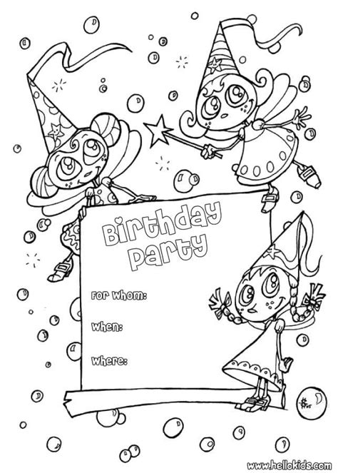 Fairy : birthday party invitation coloring pages ...