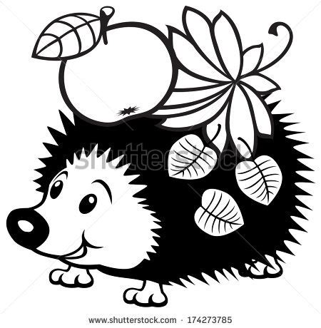 cartoon hedgehog black white picture  stock vector