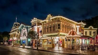 Disneyland Street Night Wallpapers Park Christmas 3840