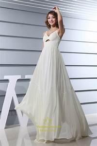 ivory empire waist chiffon wedding dress spaghetti strap With chiffon wedding dress empire waist