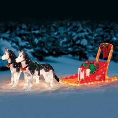 lighted sleigh huskies skymall  holidays