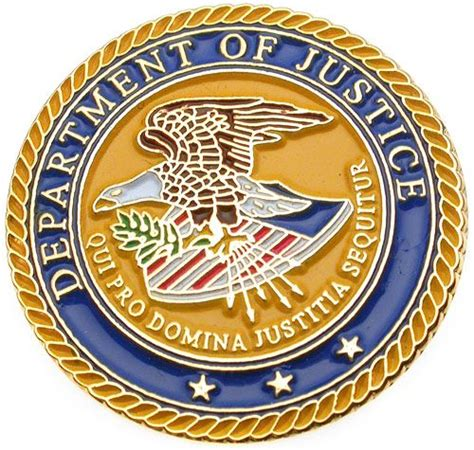 us bureau of justice us department of justice seal gold plated lapel pin