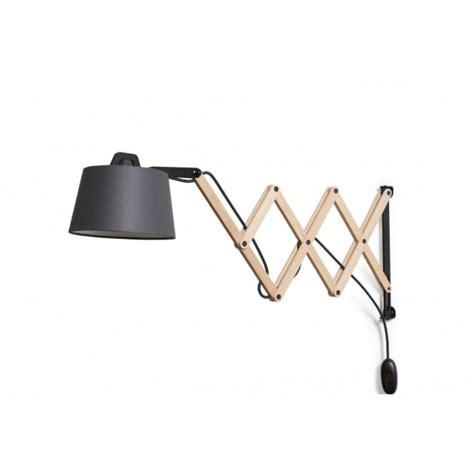 contemporary adjustable scissor arm wall light in wood