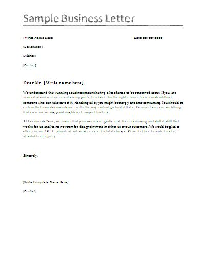 example of business letter business letter samples by formsword 21567 | Sample Business Letter