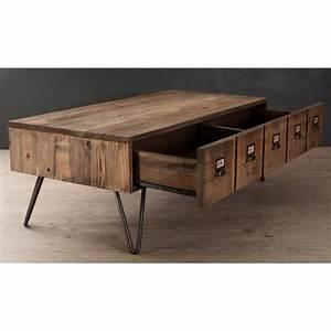 Table Basse Pin : table basse 1 tiroir pin recycl 120 5cm atelier ~ Teatrodelosmanantiales.com Idées de Décoration