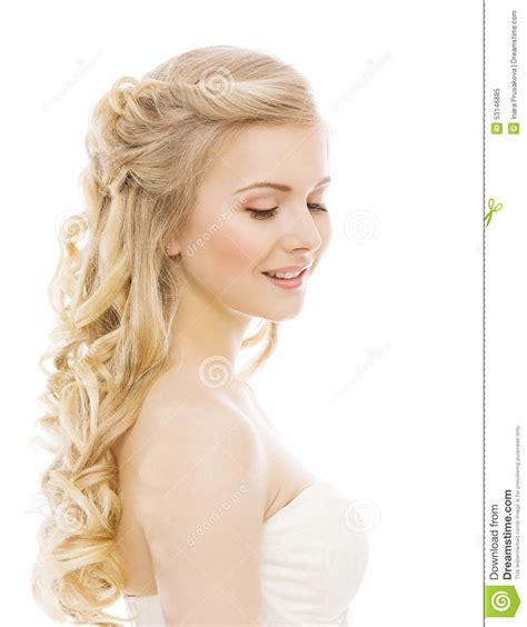 Woman Beauty Makeup Long Hair Young Girl With Blond Curly