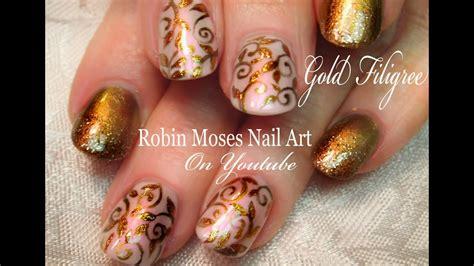 elegant gold nails easy glitter filigree nail art design