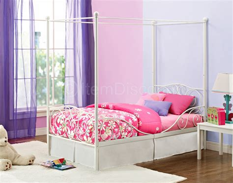 Twin White Metal Princess Cinderella Canopy Bed Frame