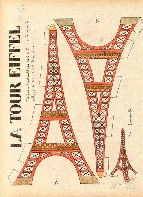 3 d eiffel tower printables day crafts tour eiffel y paper toys