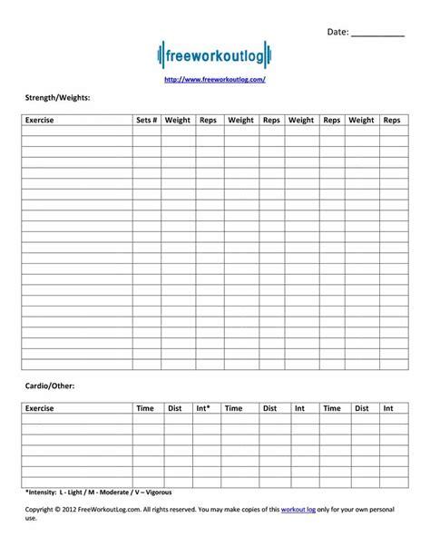 Workout Template 40 Effective Workout Log Calendar Templates Template Lab