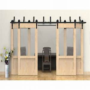 Winsoon modern 4 doors bypass sliding barn door hardware for 4 foot sliding barn door