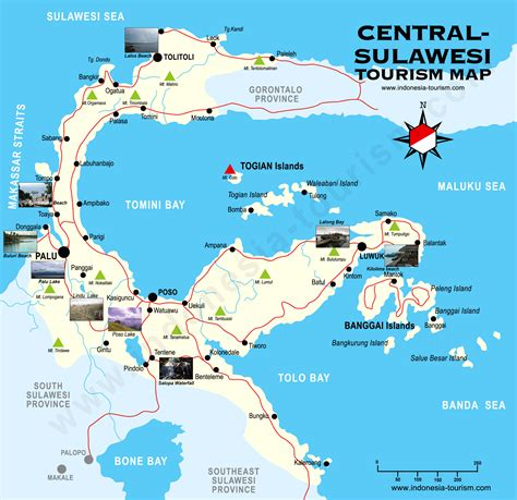 central sulawesi tourist map visit indonesia bali