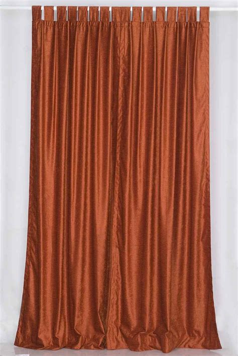 Tab Drapes - rust tab top velvet curtain drape panel ebay