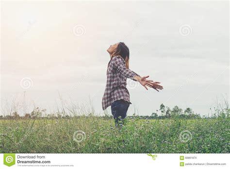 Freedom Happy Girl Feeling Alive . Stock Photo - Image of life, hope: 83661874