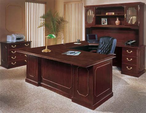 mahogany effect computer desk executive home office furniture office furniture