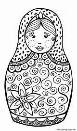 Russian Coloring Dolls Babushka Printable sketch template