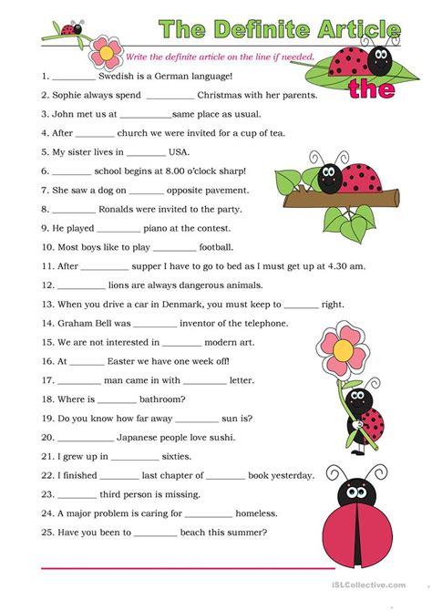 the definite article exercises worksheet free esl