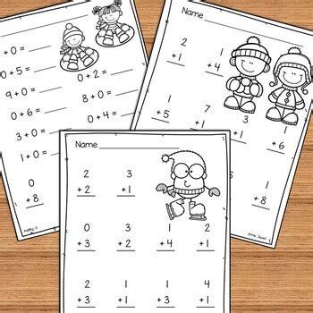 winter beginning addition  subtraction worksheets