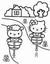 Kitty Hello Coloring Pogo Trying Stick Together sketch template