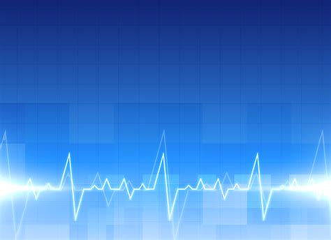 In Background Electrocardiogram Background In Blue Color