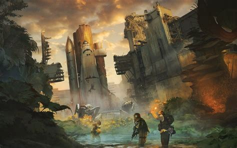 artwork, Concept art, Apocalyptic, Space shuttle ...