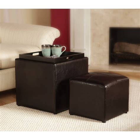 leather ottoman with storage and tray target 3 piece sheridan faux leather storage ottoman with