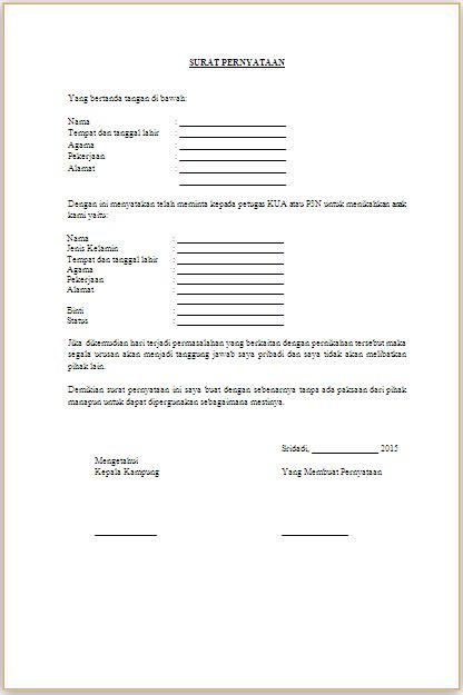 Contoh Surat Nikah Siri Doc Suratmenyuratnet