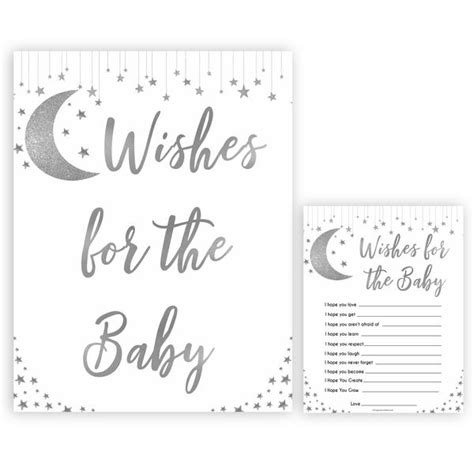 wishes   baby silver  star printable baby