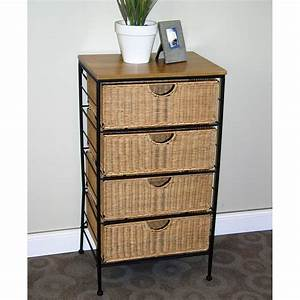 4, Drawer, Wicker, Wire, Cabinet, In, Storage, Drawers