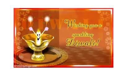 Diwali Greeting Cards Lamps Diyas Sparkling Festival