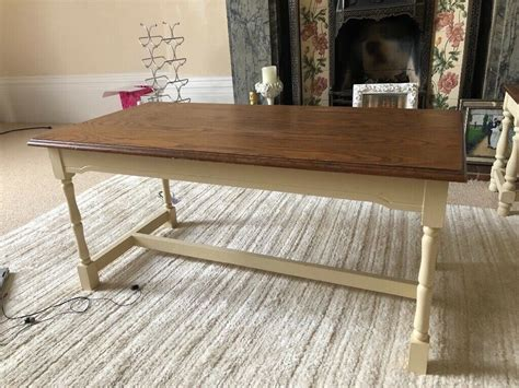 wooden coffee table cream painted legs