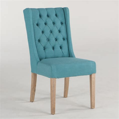 lara linen dining chair in teal w napoleon legs simply