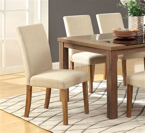 oak chairs for cm3565t sundance 5pc dining set light oak w ivory fabric 3565
