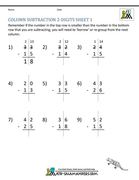 1st grade math worksheet subtraction with regrouping 2 digit subtraction worksheets