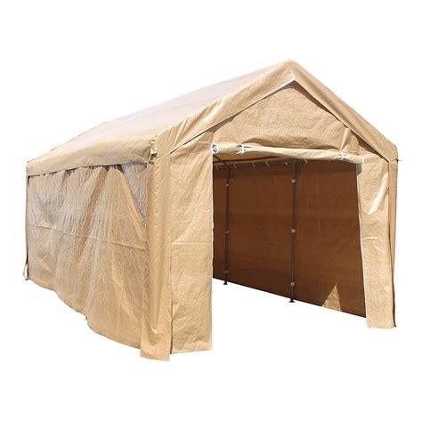 aleko    steel frame  pvc removable walls canopy carport tent heavy duty beige