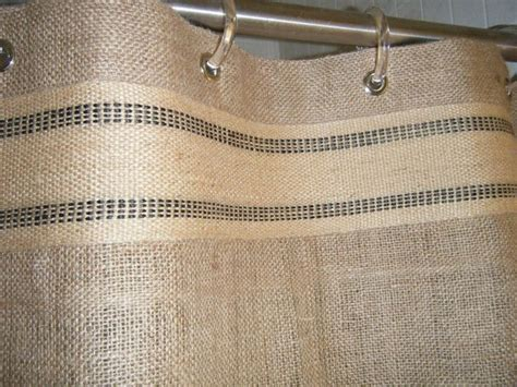 burlap shower curtain 72 x 72 grommet top with striped