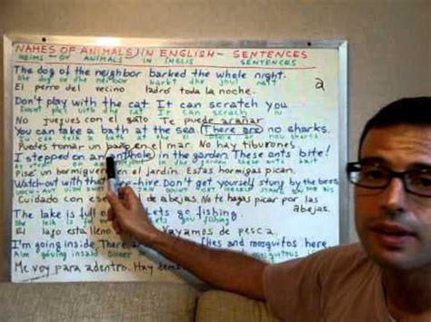curso de ingles  nombres de los animales oraciones