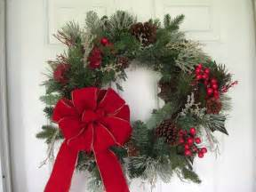 Outdoor Christmas Wreath with Red Bow