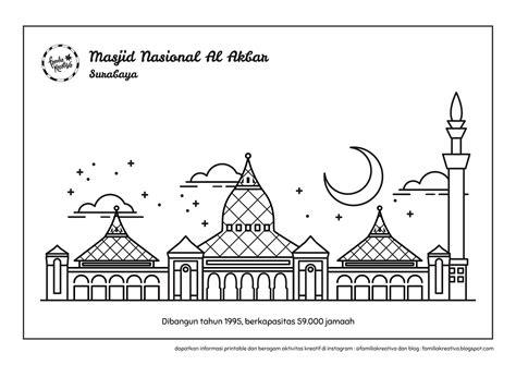 gratis printable mewarnai 6 masjid nusantara