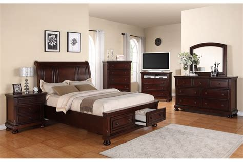 Espresso Glossy Teak Wood Storage Bed With End Drawers And Round White Table Lamps On Nightstand