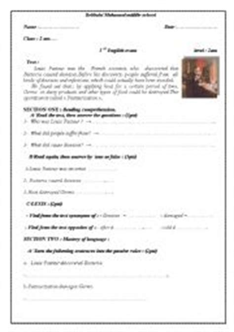English Worksheets A Test About Louis Pasteur And His Discovery Designed For 4th Year Algerian