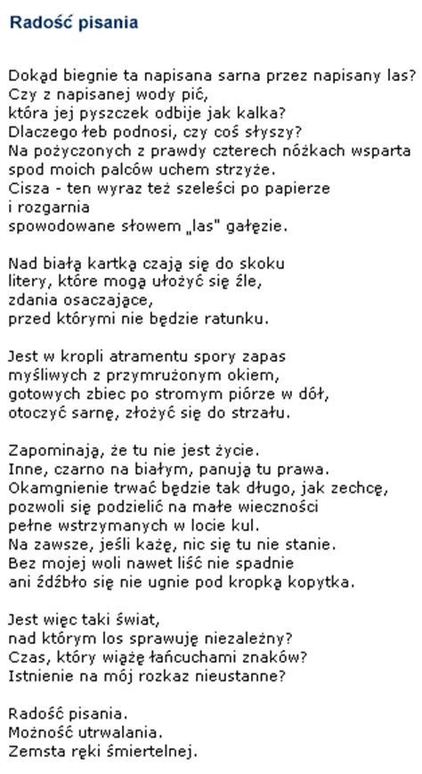 wislawa szymborska poetry radosc pisania