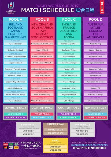 le calendrier des matches pour la rwc  coupe du monde de rugby  rugbyworldcupcom